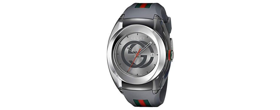 gucci stainless steel and rubber men's watch