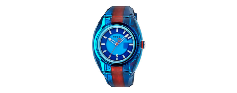 gucci stainless steel and rubber watch