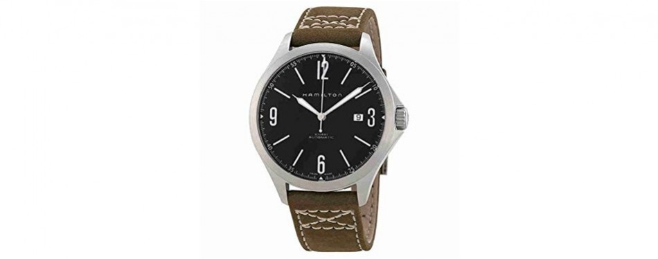 hamilton aviation black dial ss olive leather automatic men's watch