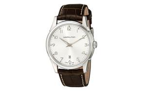 hamilton h38511553 jazzmaster thinline silver dial watch