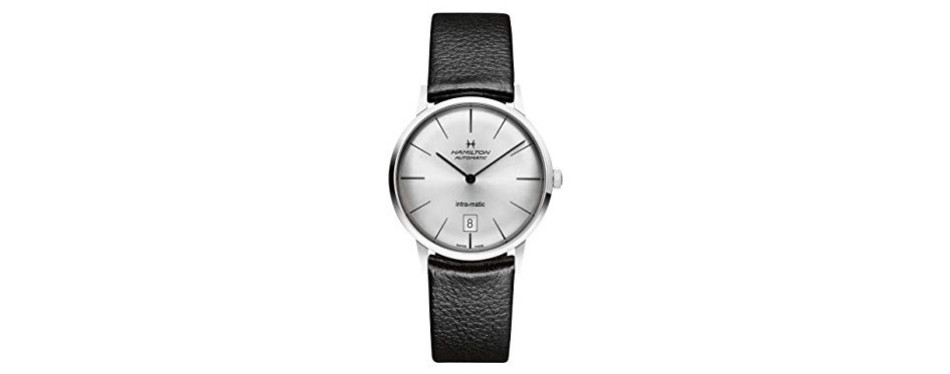 hamilton intra-matic silver dial leather men's watch