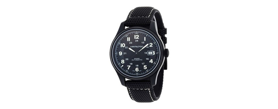 hamilton khaki field black dial watch
