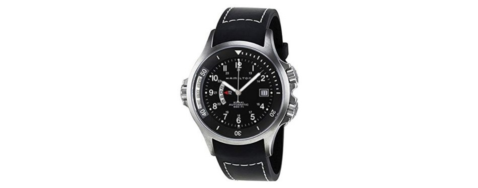 hamilton khaki navy black dial gmt men's watch