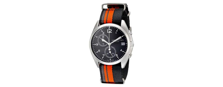 hamilton men's khaki aviation stainless steel watch with striped canvas strap