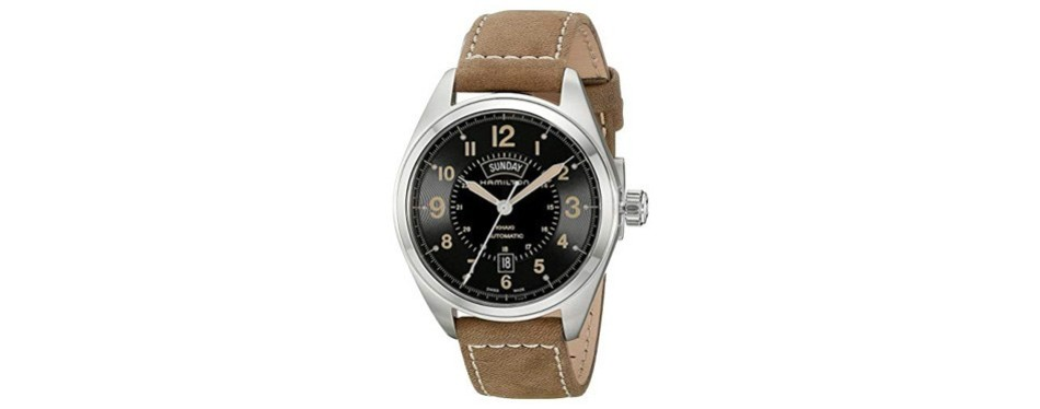 hamilton men's khaki field analog display automatic self wind brown watch