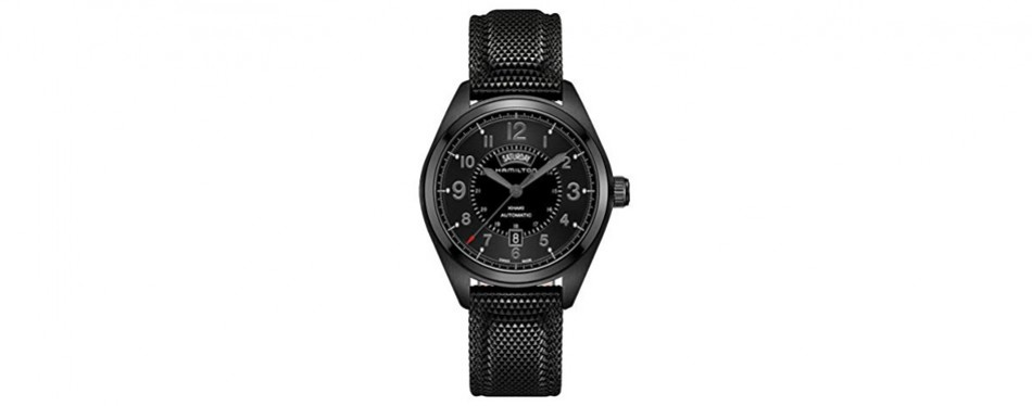 hamilton men's khaki field day date black automatic watch