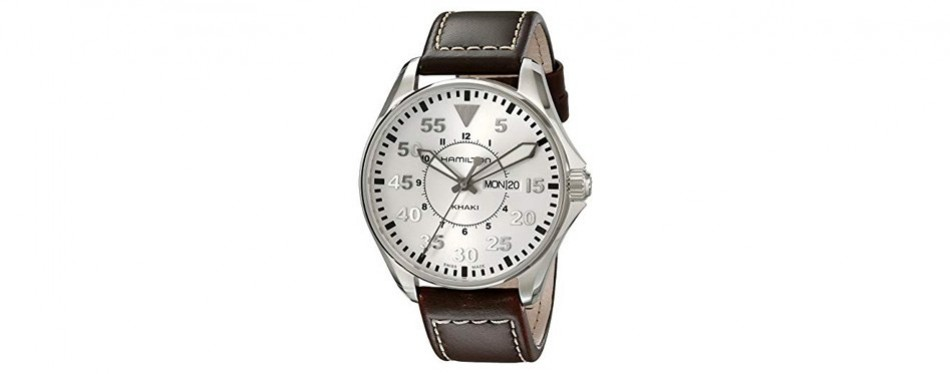 hamilton men's khaki pilot silver day date dial watch