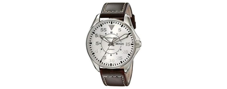 hamilton men's khaki pilot silver day date dial watch