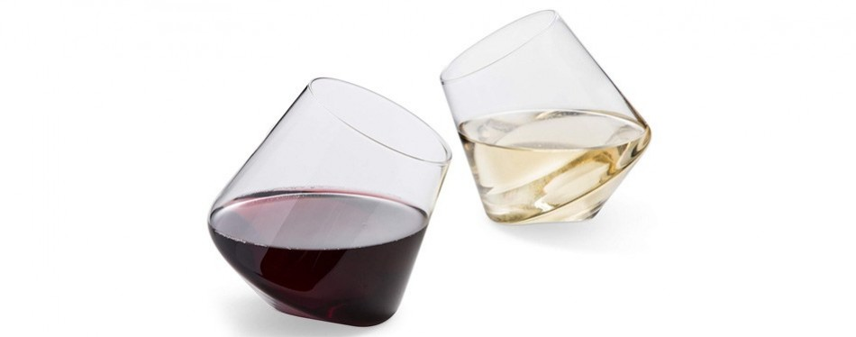 hand blown stemless wine glasses – set of 2