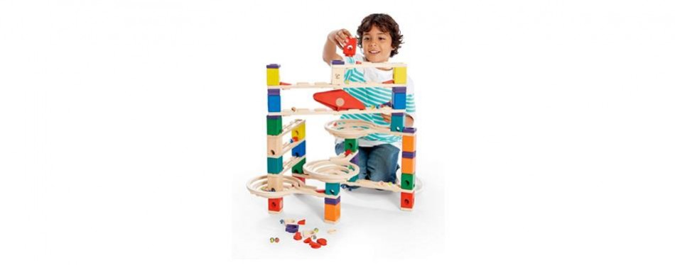 hape quadrilla wooden marble run construction system