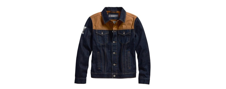 harley-davidson men's waxed canvas slim fit denim jacket
