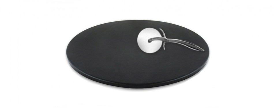 "heritage 15"" black ceramic pizza stone and cutting wheel"