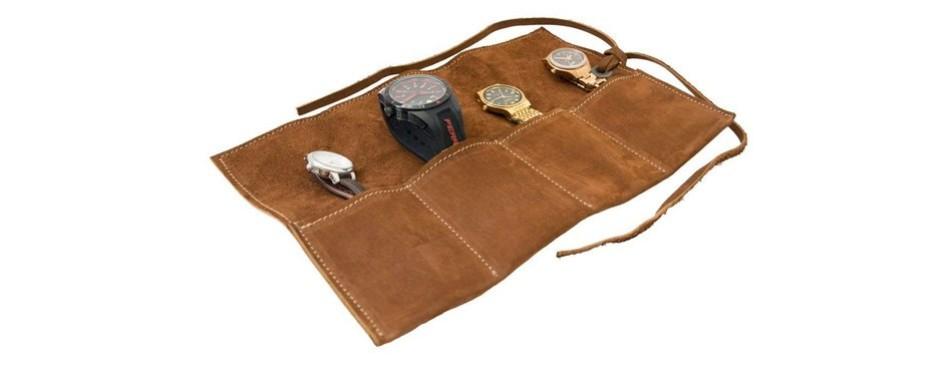 hide & drink soft leather travel watch roll organizer