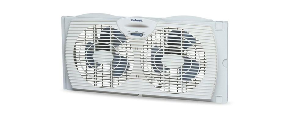 holmes window fan with twin 6-inch reversible airflow blades