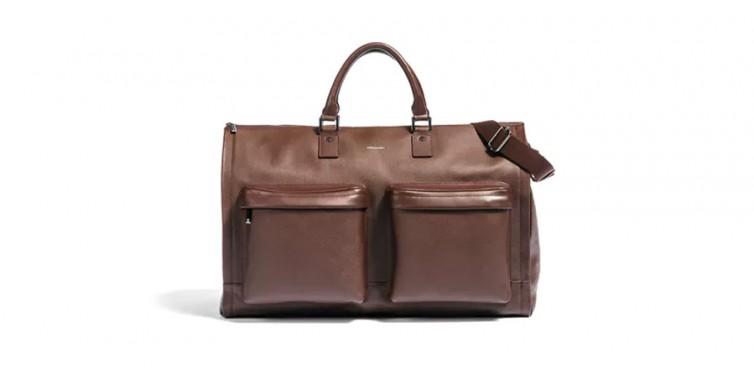 hook & albert's leather garment weekender