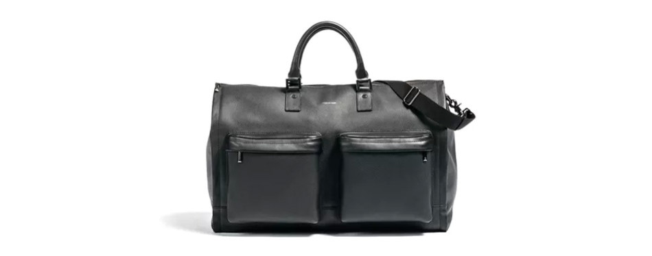 hook & albert's leather garment weekender