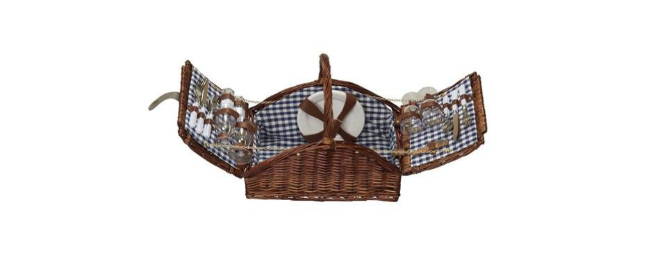 household essentials woven willow 4 person picnic basket