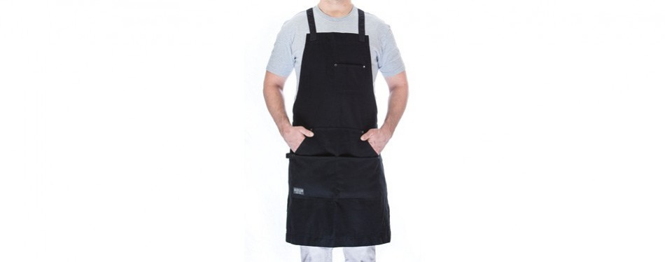 hudson durable goods - professional grade chef apron for kitchen, bbq, and grill