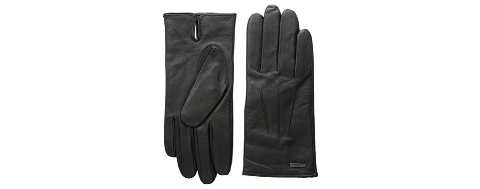 hugo boss lambskin leather gloves