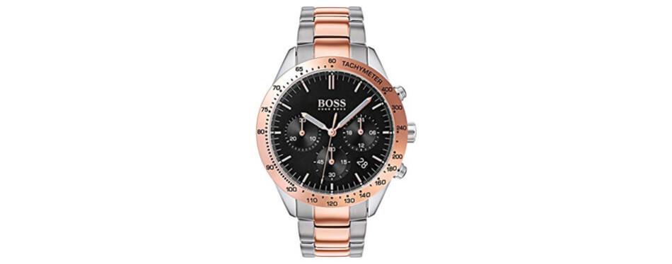 hugo boss talent men's rose gold watch
