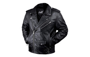 hwk vintage style leather motorcycle jacket with armor