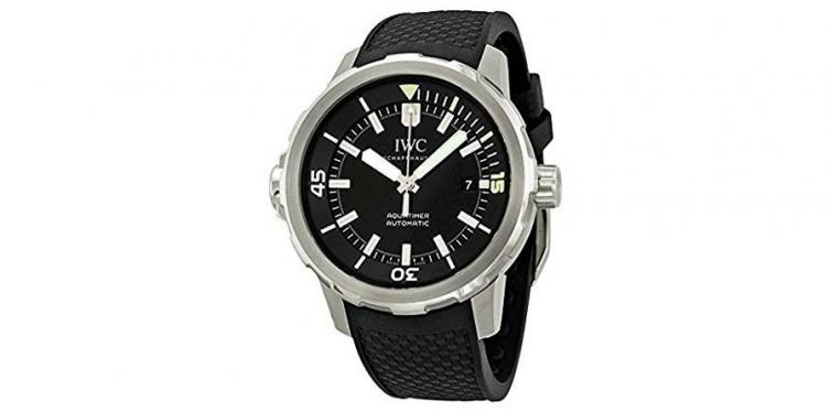 iwc aquatimer black dial black rubber mens watch