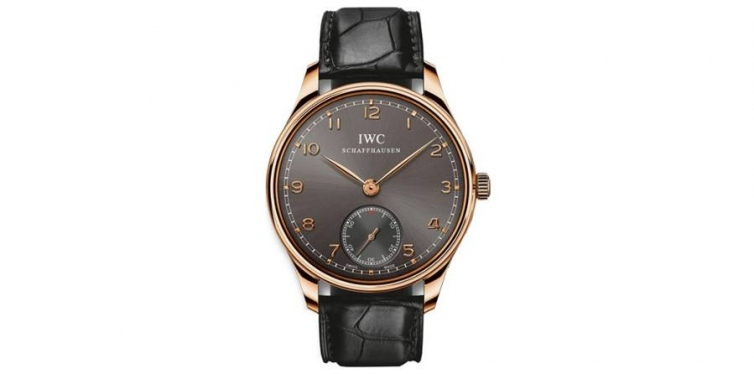 iwc portuguese ardoise dial 18kt rose gold black leather mens watch