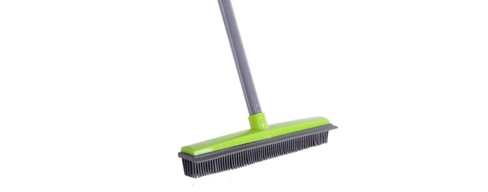 juoifip's soft push broom bristle rubber broom carpet sweeper with squeegee