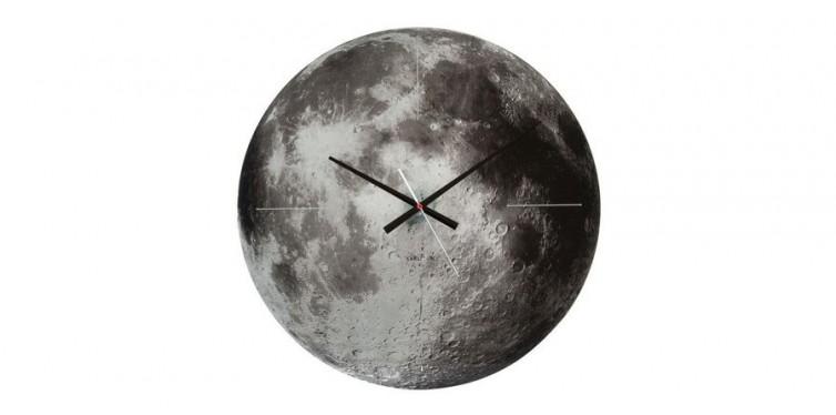 karlsson present time moon glass wall clock