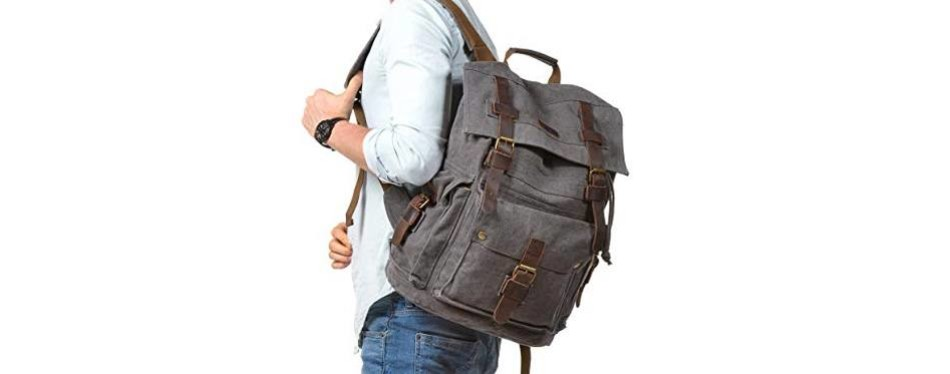 kattee leather and canvas large backpack