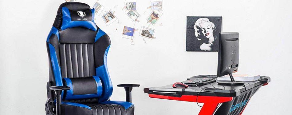 killabee big & tall racing leather gaming chair