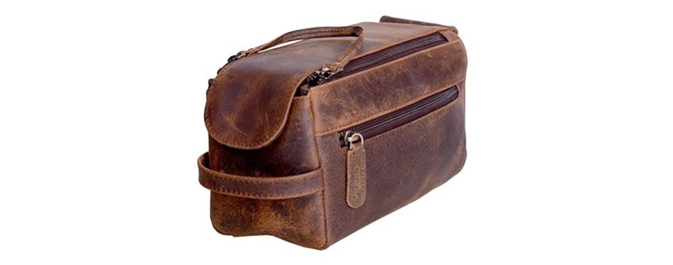 komalc buffalo leather dopp kit