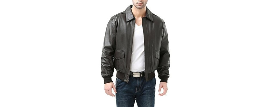landing leathers men's air force a-2 leather flight bomber jacket