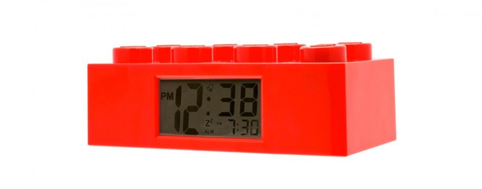 lego red brick kids light up kids alarm clock