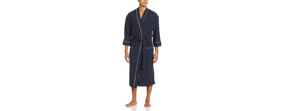 majestic international waffle-knit kimono spa robe