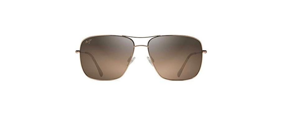 maui jim cook pines polarized silver aviator sunglasses