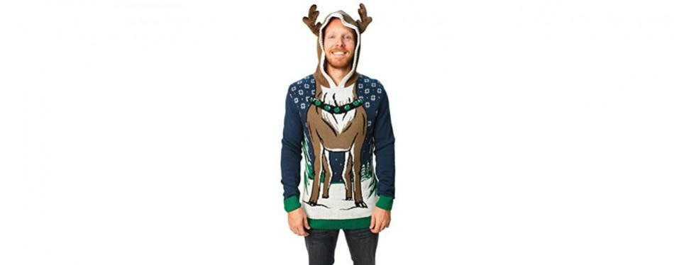 men's hooded reindeer christmas jumper