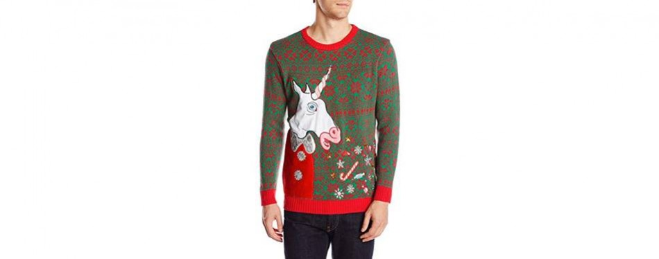 men's vomiting unicorn light up christmas jumper