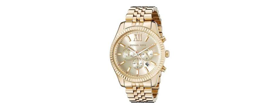 michael kors lexington gold-tone stainless steel watch