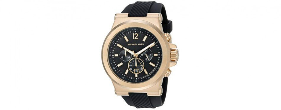 michael kors men's gold-tone and black dylan watch