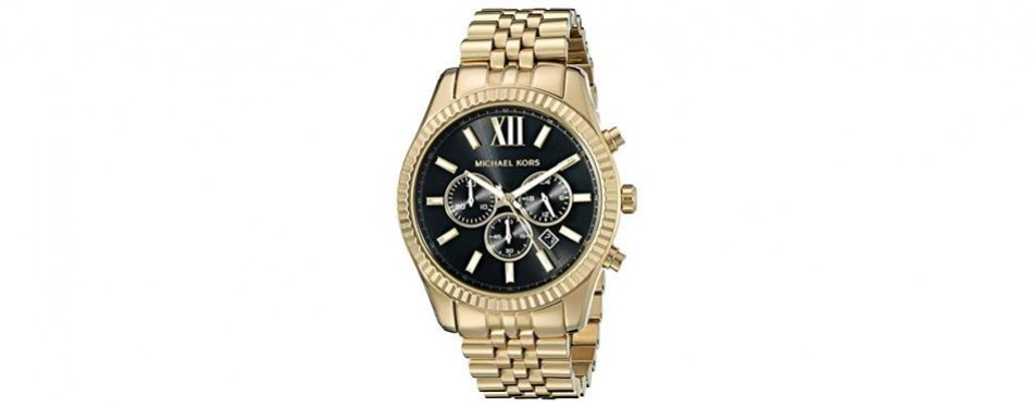 michael kors men's lexington gold-tone watch