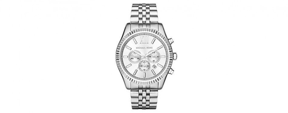 michael kors men's lexington silver-tone watch