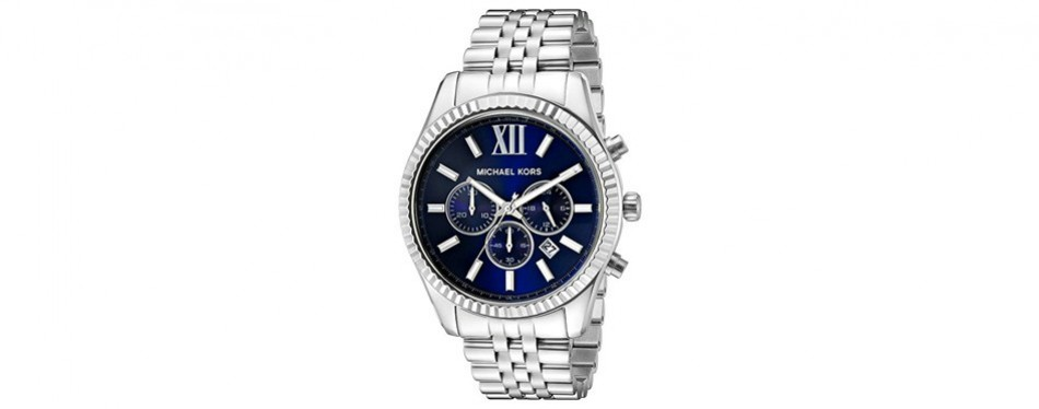 michael kors men's lexington silver-tone watch mk8280