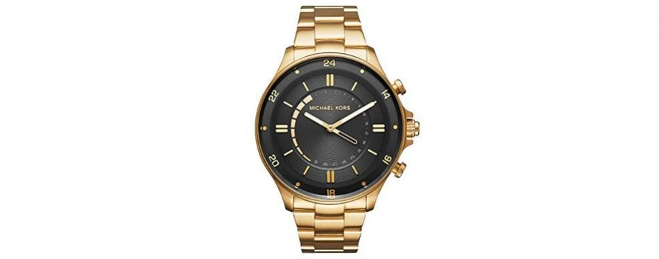 michael kors women's goldtone lexington watch with a luggage strap