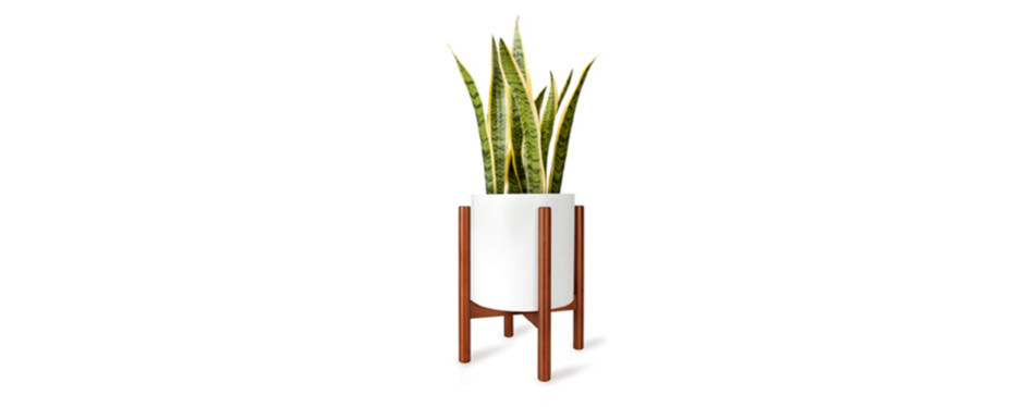 "mkono mid century 10"" wood plant stand"