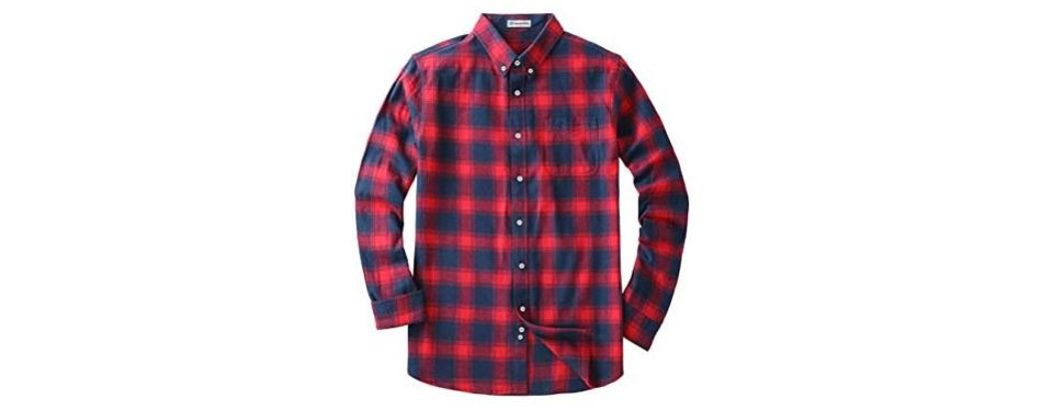 mocotono men's long sleeve flannel shirt