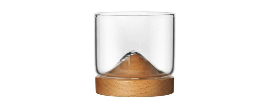 modernlife whiskey glasses cup with wooden base