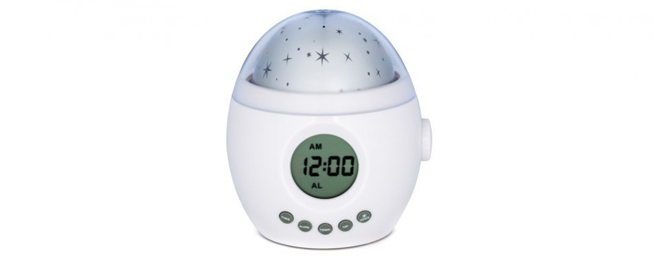 momknows galaxy clock soothing star projector sound machine kids alarm clock