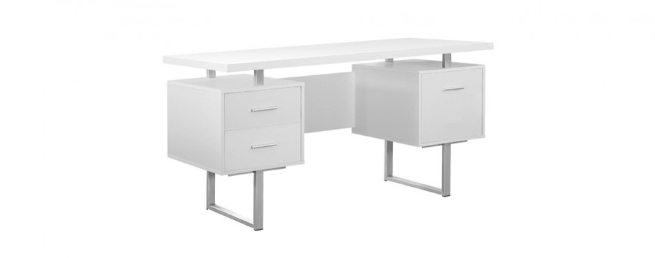 monarch specialties white hollow core and silver office desk