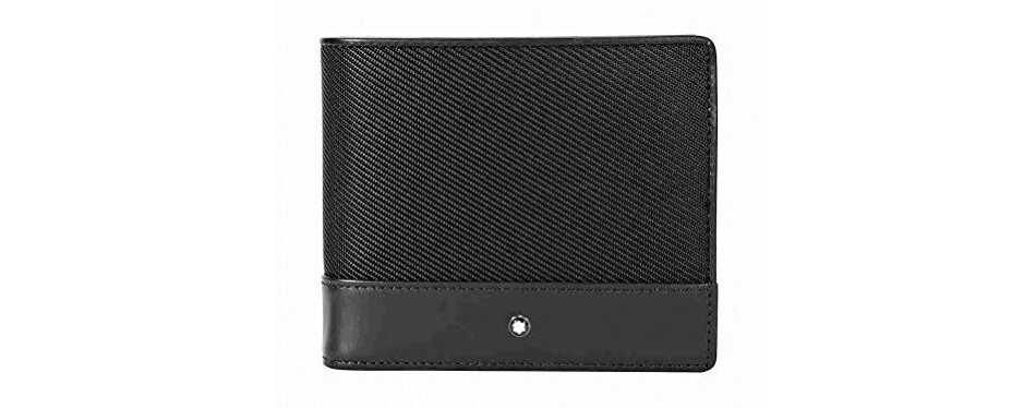 montblanc nightflight bi-folding nylon/leather wallet